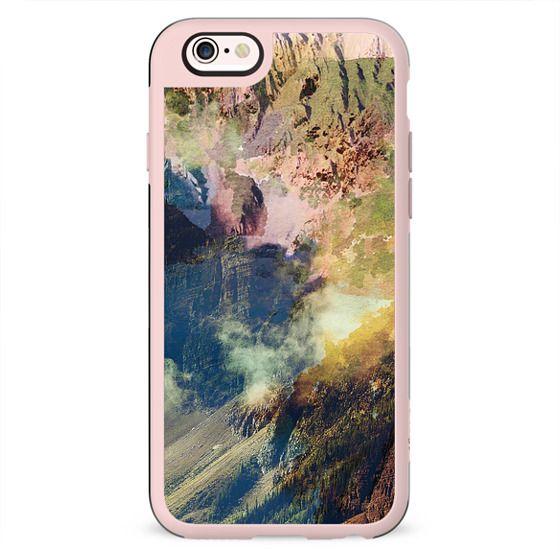 Painted mountain landscape close-up