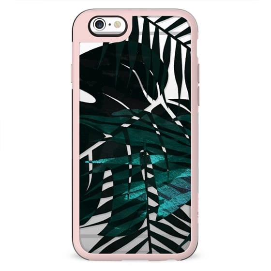 Dark green tropical leaf clear case