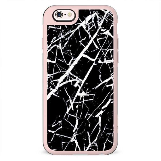 Cracked black marble