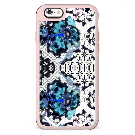 Blue white floral ethnic decorations