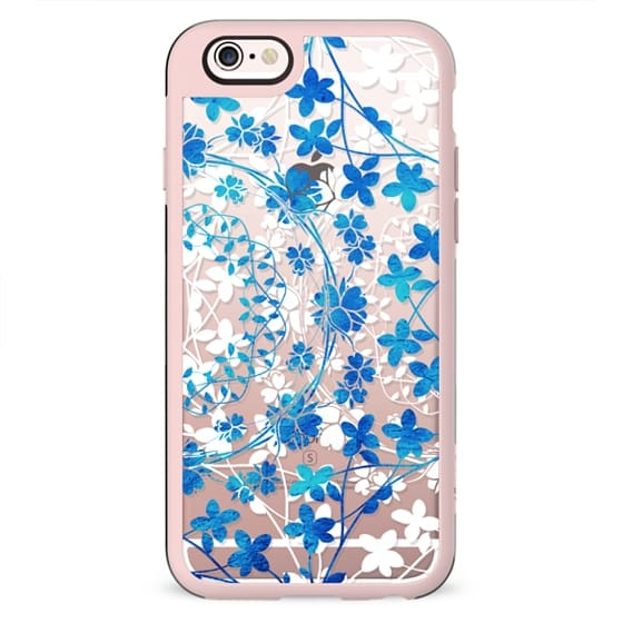 Blue white floral lace clear
