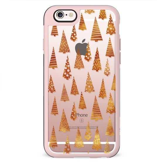 Golden Christmas trees clear case