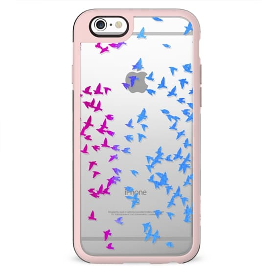Blue pink flying birds clear case
