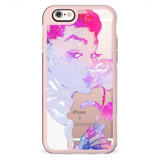 Pink painted woman with rose clear case