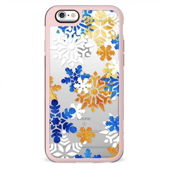 Blue gold snowflakes clear case