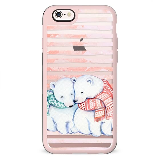 Cute cuddling polar bears and peach stripes