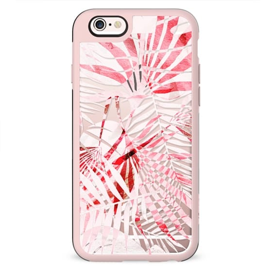 Light pink tropical leaves - clear case