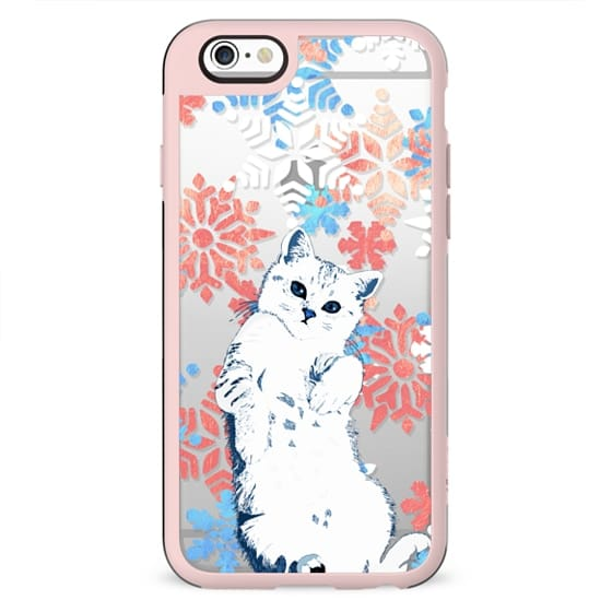 White cute cat with watercolor snowflakes