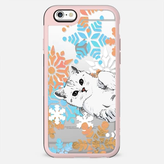 white cute  kitty and painted snowflakes