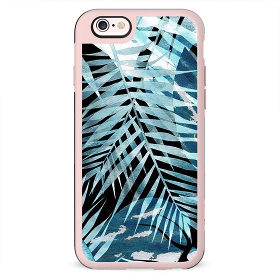 blue watercolor tropical leaf