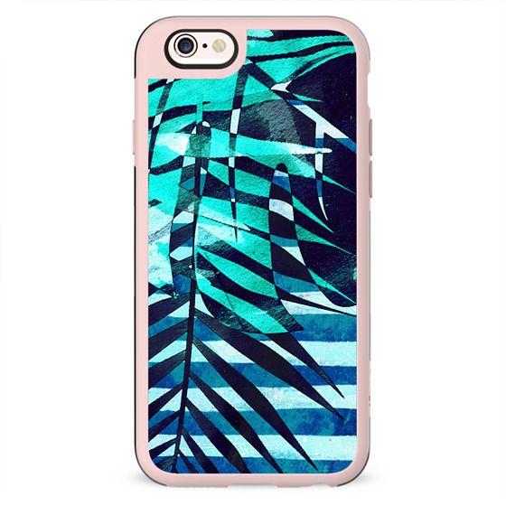 Tropical leaf and marine blue stripes