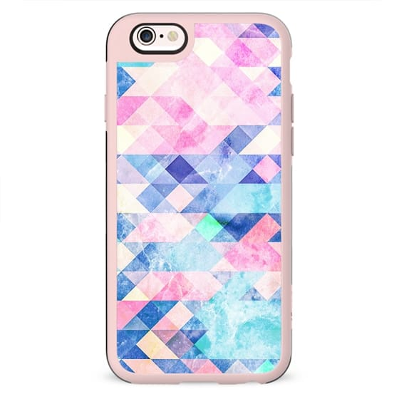 Pastel blue pink marble triangles