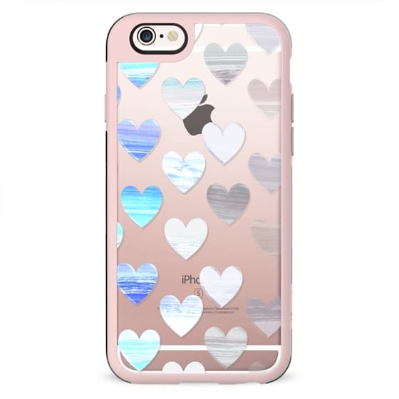 transparent blue painted hearts