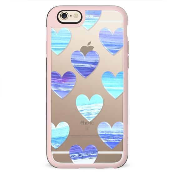Watercolor painted blue hearts clear