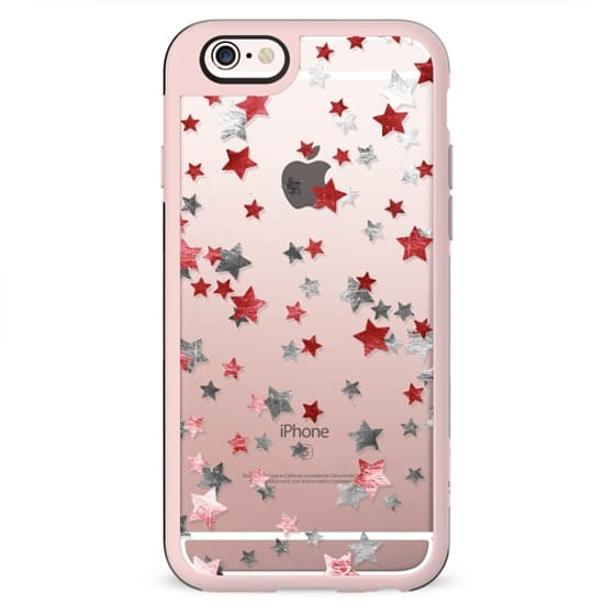 Party metallic sparkle stars clear case