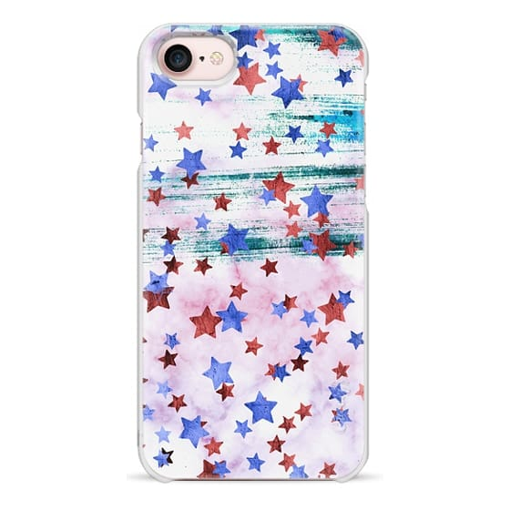 iPhone 7 Plus Cases - blue copper metallic stars on marble