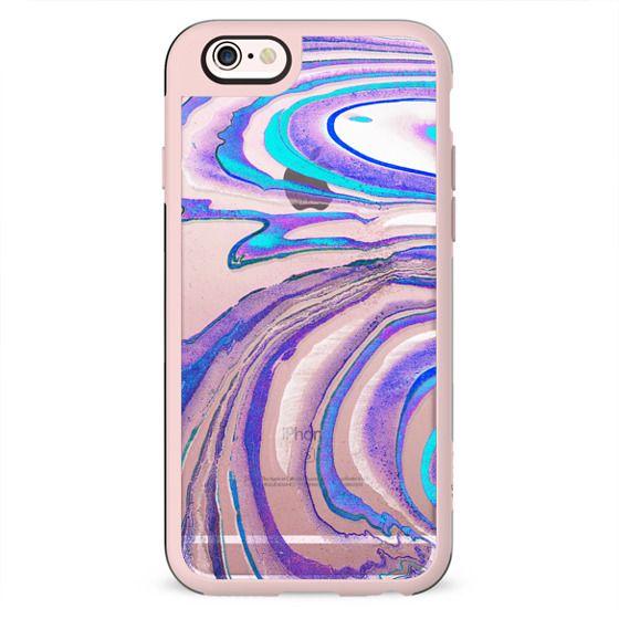 Blue purple transparent marble painted stripes