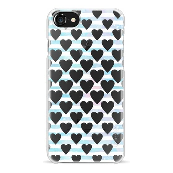 iPhone 7 Plus Cases - blue white watercolor hearts and stripes