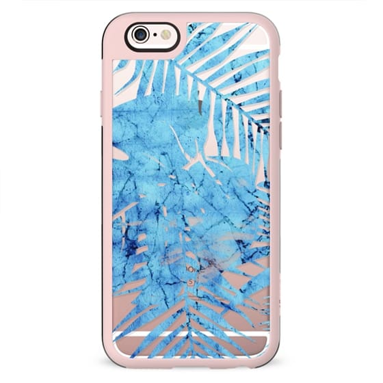 Blue marbling tropical leaves clear