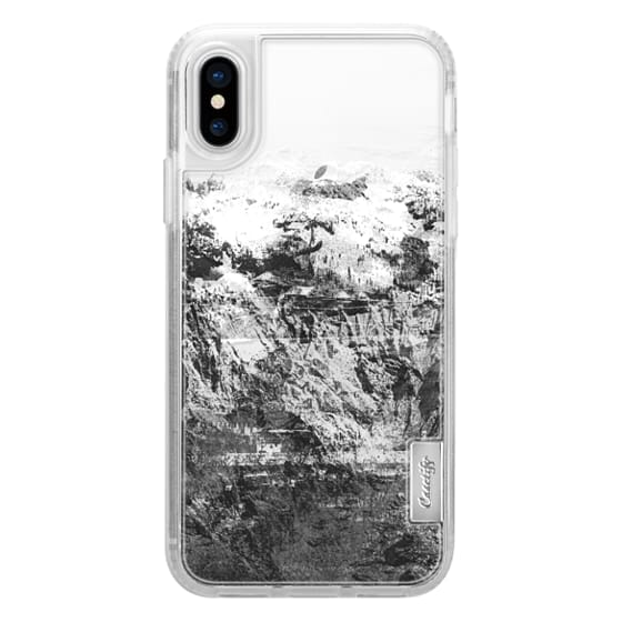iPhone 7 Plus Cases - Mountain rock close-up black and white transparent