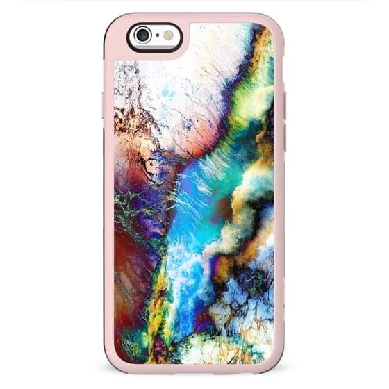 Abstract vibrant marble clouds painting
