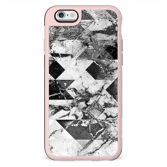 Marble cracked rhombic black and white