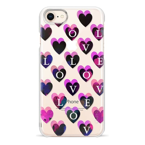 iPhone 7 Plus Cases - Love painted dark pink hearts clear case