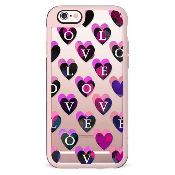 Love letters dark pink hearts clear case