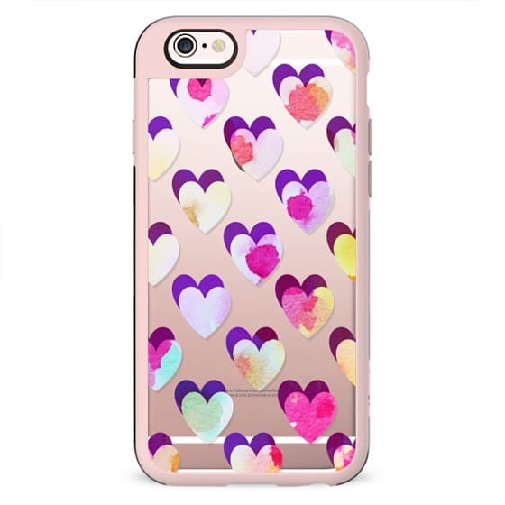 Colorful watercolor painted hearts pattern