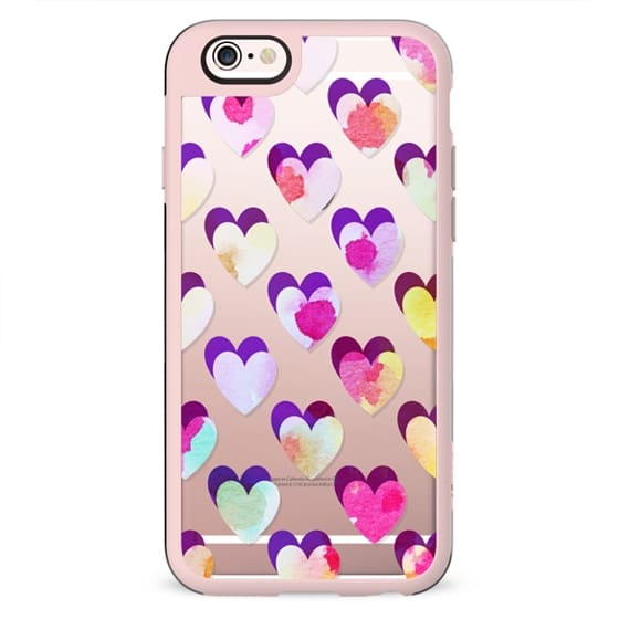 colorful watercolor hearts pattern