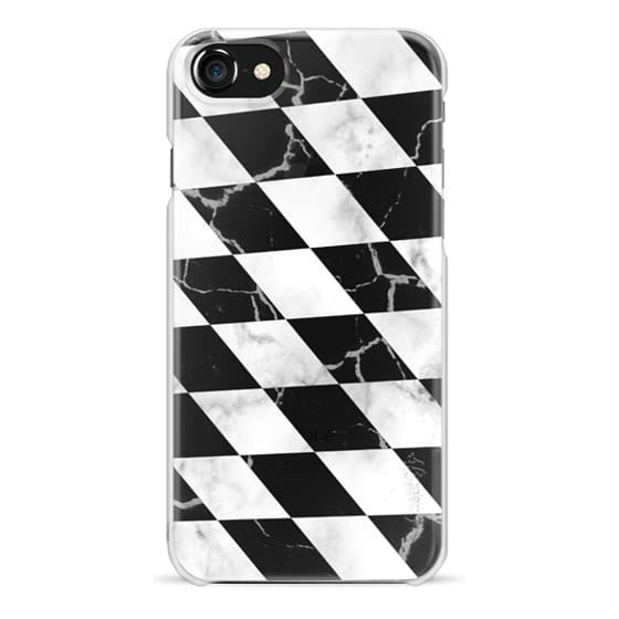 iPhone 7 Plus Cases - Black and white marble transparent black check