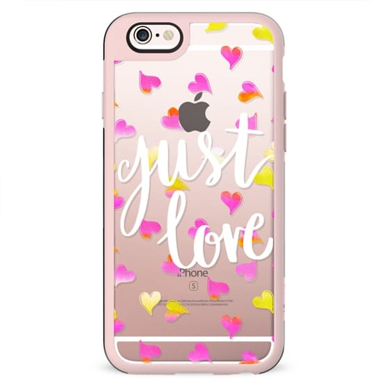 Just love painted pink yellow hearts clear