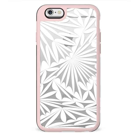 White transparent stylised floral lace