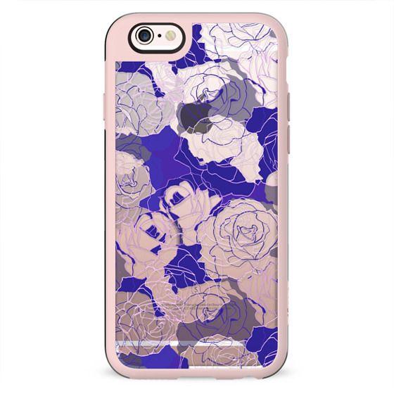 Dark purple blue line art roses clear