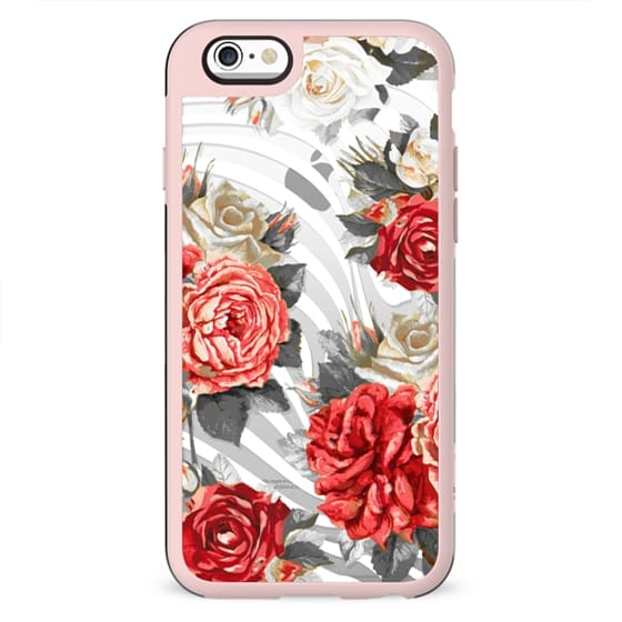 Red roses and white stripes clear case