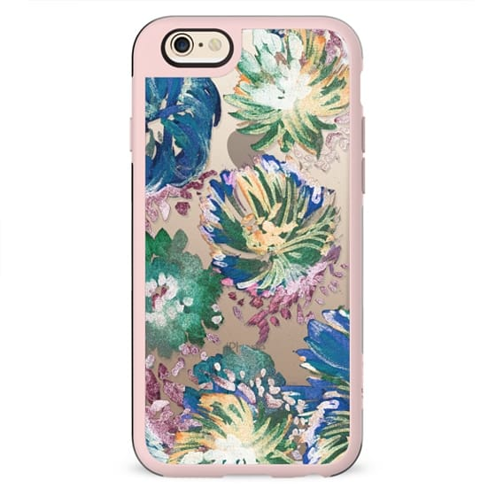 Stylised colorful brushed floral petals