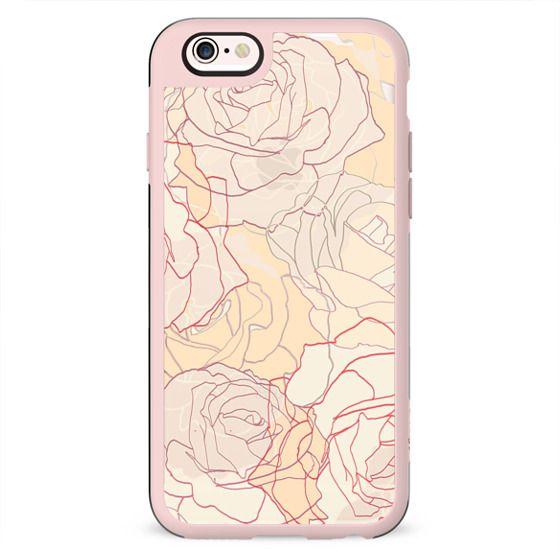 Pastel line art roses elegant print transparent