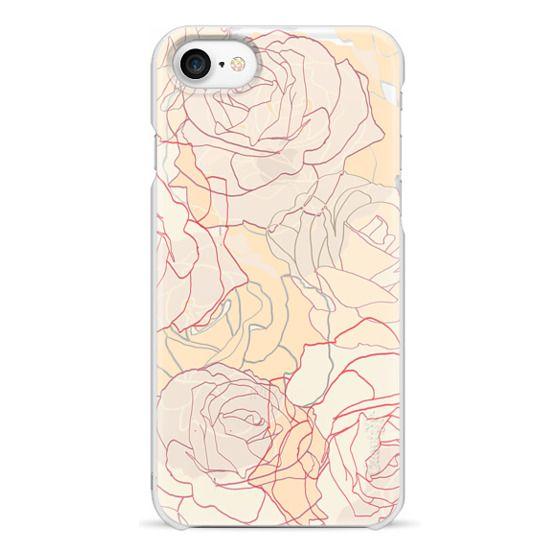 iPhone 7 Plus Cases - Pastel line art roses elegant print transparent