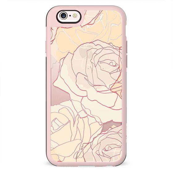 Pastel line art roses elegant print clear