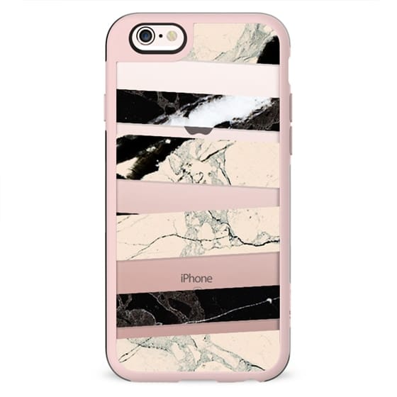 Cracked marble stripes clear case