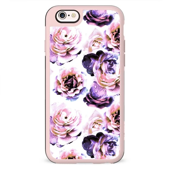 Purple pink rose petals painting on white