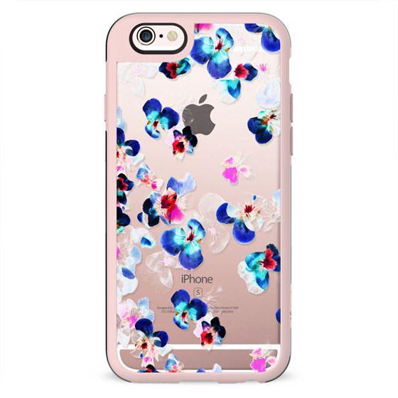 Transparent fading blue pink pansy petals