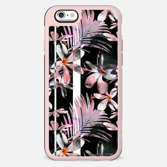 Tropical pink hibiscus and black stripes - New Standard Case