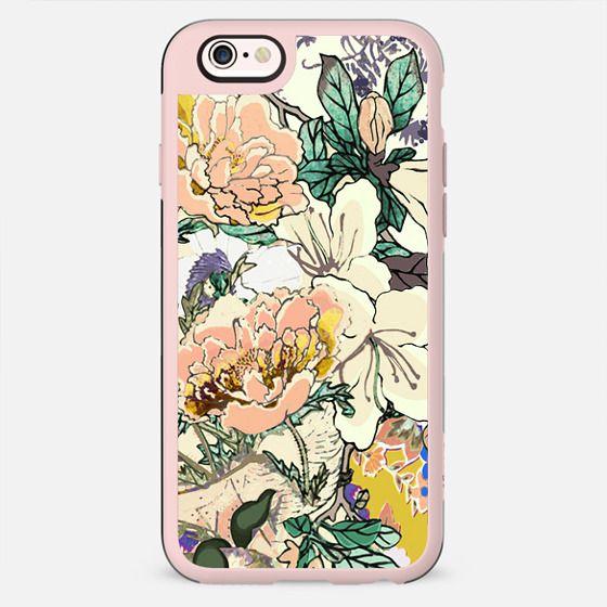 Brigh coloured flowers botanical line art - New Standard Case