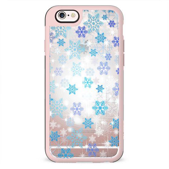Blue white snowflakes sparkle 2