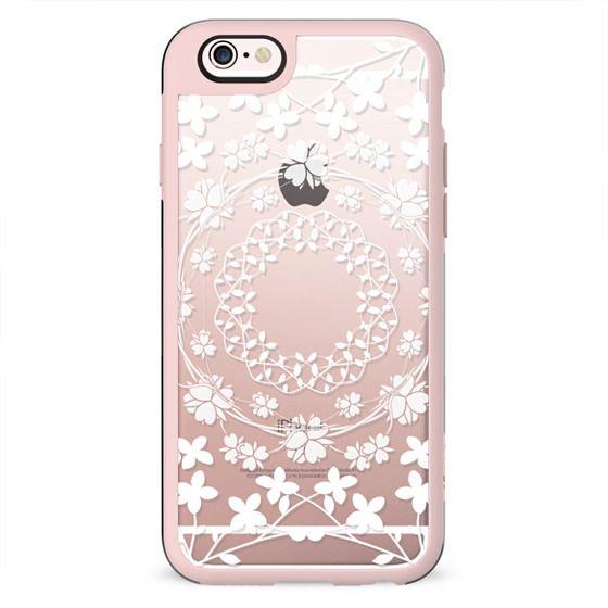 White floral mandalas clear case