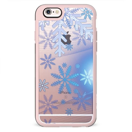 Blue ice snowflakes clear case