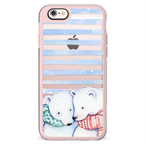 Cute cuddling polar bears and blue stripes
