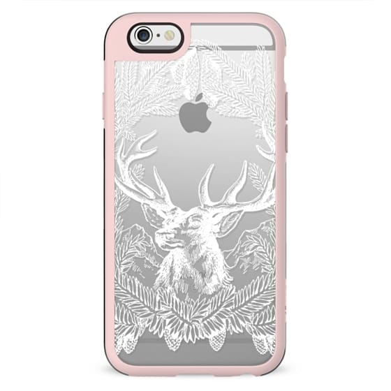 Deer and pine branches clear winter case
