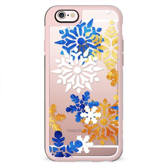 Blue gold white snowflakes